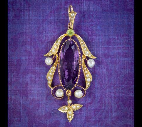 Antique-Edwardian-Suffragette-Pendant-15ct-Gold-10ct-Amethyst-Circa-1910-cover
