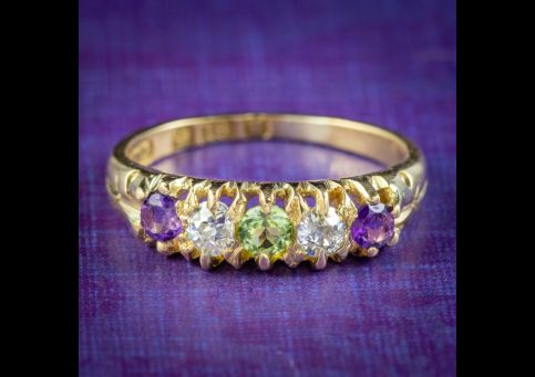 Antique-Edwardian-Suffragette-Ring-Amethyst-Peridot-Diamond-Circa-1910-cover