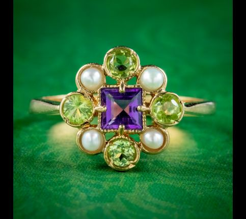 Edwardian-Suffragette-Style-Cluster-Ring-Peridot-Pearl-Amethyst-cover