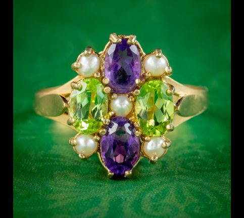 Edwardian-Suffragette-Style-Cluster-Ring-Peridot-Amethyst-Pearl-cover
