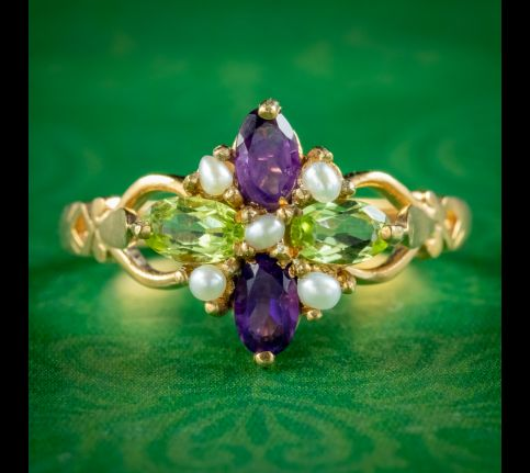 Edwardian-Suffragette-Style-Cluster-Ring-Pearl-Peridot-Amethyst-COVER
