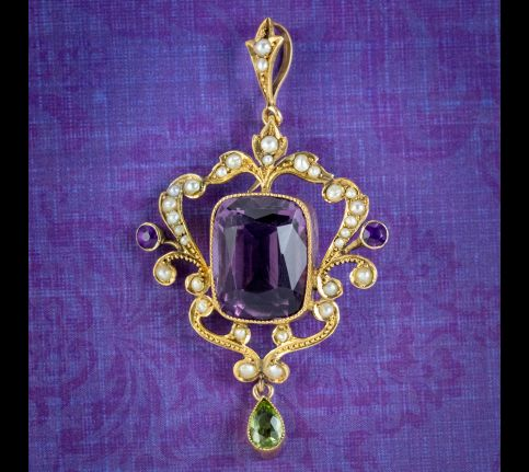 Antique-Edwradian-Suffragette-Amethyst-Pendant-9ct-Gold-Circa-1910-cover