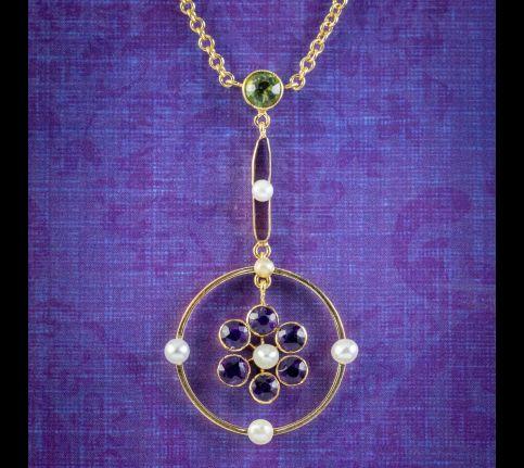 Antique-Edwardian-Suffragette-Lavaliere-Necklace-18ct-Gold-Circa-1915-cover