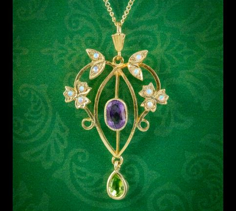 Edwardian-Suffragette-Style-Pendant-Necklace-Sterling-Silver-18ct-Gold-Gilt-cover