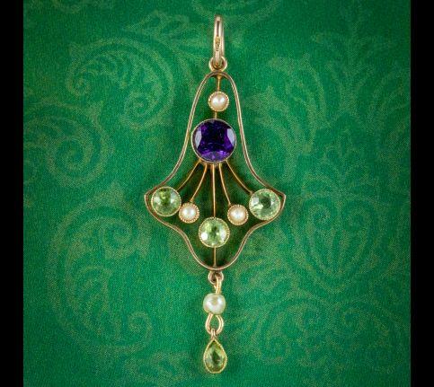 Antique-Edwardian-Suffragette-Pendant-Amethyst-Peridot-Pearl-Circa-1910-cover