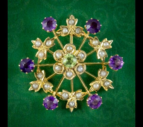 ANTIQUE SUFFRAGETTE FLORAL PENDANT 9CT GOLD AMETHYST PERIDOT PEARL CIRCA 1910 cover