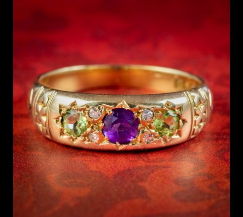 Antique-Edwardian-Suffragette-Ring-Amethyst-Peridot-Diamond-Dated-1910-cover