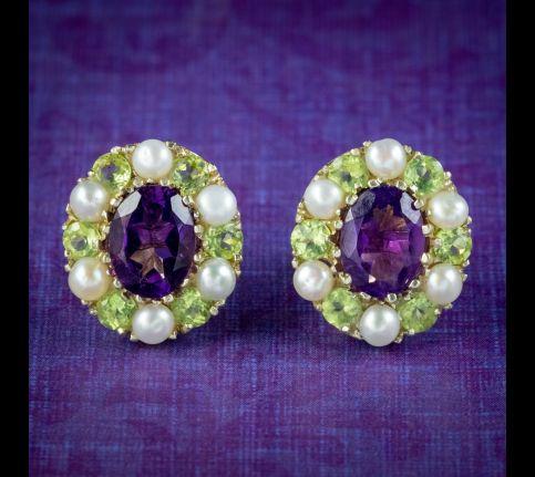 Edwardian-Suffragette-Style-Cluster-Earrings-Amethyst-Peridot-Pearl-cover