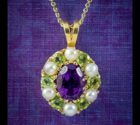 Edwardian-Suffragette-Style-Pendant-Necklace-Amethyst-Peridot-Pearl-cover