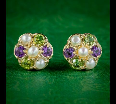 Edwardian-Suffragette-Style-Cluster-Stud-Earrings-9ct-Gold-cover