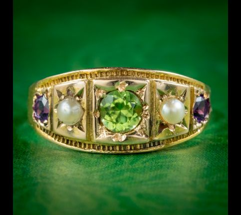 Antique-Victorian-Suffragette-Ring-Peridot-Pearl-Amethyst-Dated-1883-cover