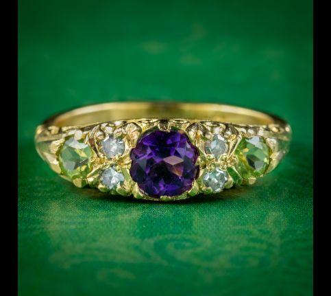 Antique-Edwardian-Suffragette-Ring-Amethyst-Diamond-Peridot-Circa-1910-cover