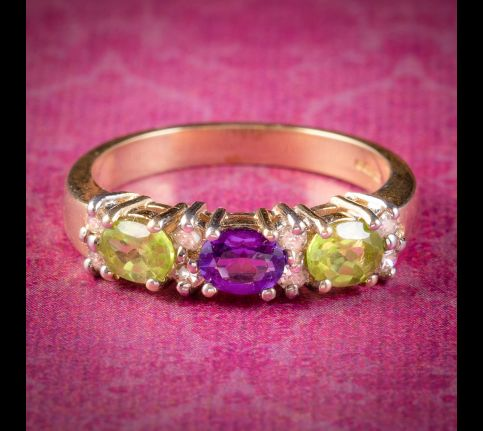 Suffragette-Ring-Peridot-Amethyst-Diamond-9ct-Gold-cover