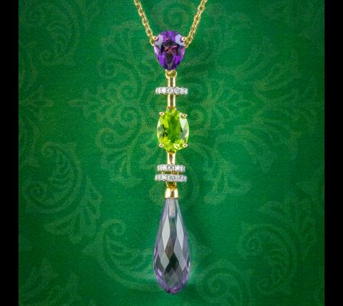 Art-Deco-Suffragette-Style-Pendant-Necklace-Amethyst-Peridot-Diamond-18ct-Gold-COVER