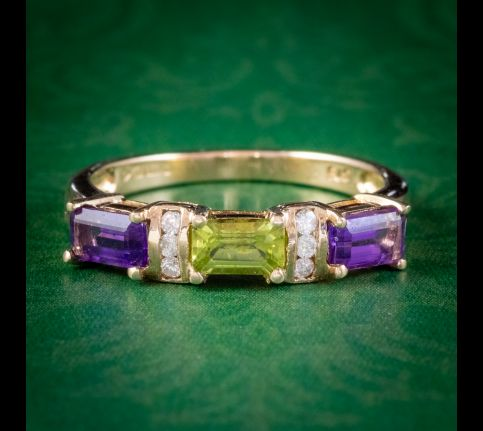 SUFFRAGETTE AMETHYST PERIDOT DIAMOND RING 9CT GOLD cover