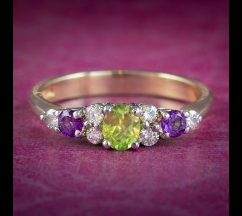 SUFFRAGETTE RING PERIDOT AMETHYST DIAMOND 9CT GOLD cover