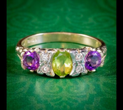SUFFRAGETTE RING AMETHYST PERIDOT DIAMOND 9CT GOLD cover