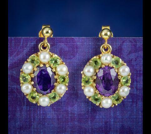 Edwardian-Suffragette-Style-Drop-Earrings-Amethyst-Peridot-Pearl-cover