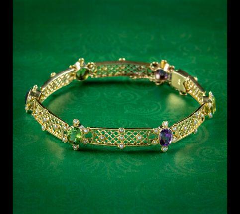 Antique-Edwardian-Suffragette-Bracelet-Amethyst-Peridot-Pearl-Circa-1910-cover