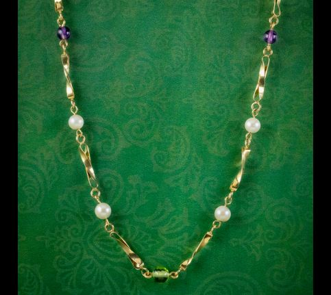 Edwardian-Suffragette-Style-Necklace-Peridot-Amethyst-Pearl-Dated-1985-cover