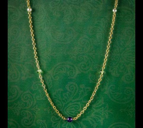 Antique-Edwardian-Suffragette-Chain-Necklace-15ct-Gold-Circa-1910-cover