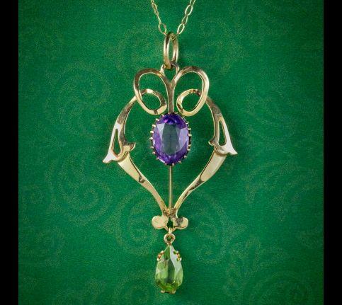 Antique-Edwardian-Suffragette-Pendant-Necklace-9ct-Gold-Circa-1910-cover
