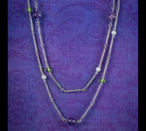 Antique-Edwardian-Suffragette-Guard-Chain-Necklace-Silver-Circa-1910-cover