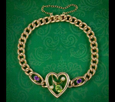 Antique-Edwardian-Suffragette-Heart-Bracelet-15ct-Gold-Circa-1910-cover