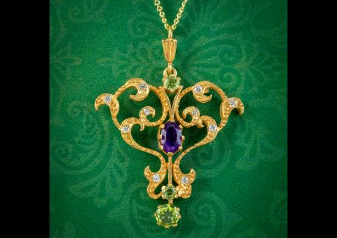 Edwardian-Suffragette-Style-Pendant-Necklace-18ct-Gold-On-Sterling-Silver-cover