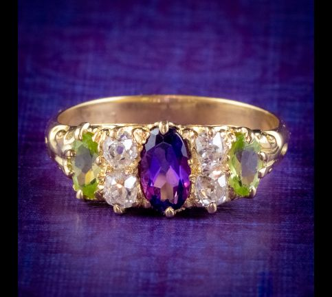 ANTIQUE EDWARDIAN SUFFRAGETTE RING AMETHYST PERIDOT DIAMOND 18CT GOLD CIRCA 1910 cover