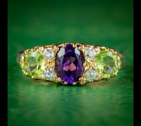 ANTIQUE SUFFRAGETTE RING 18CT GOLD AMETHYST PERIDOT DIAMOND S BLANCKENSEE AND SON DATED 1914 cover