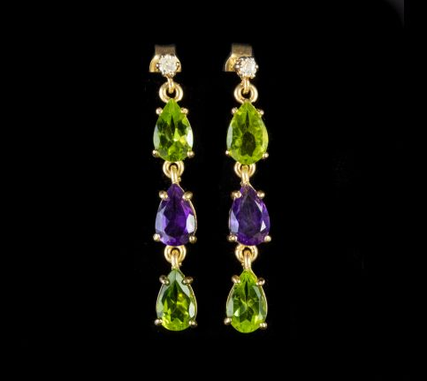 Suffragette Drop Earrings Diamond Peridot Amethyst 9ct Gold front
