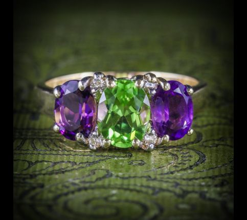 Suffragette Amethyst Peridot Gold Ring