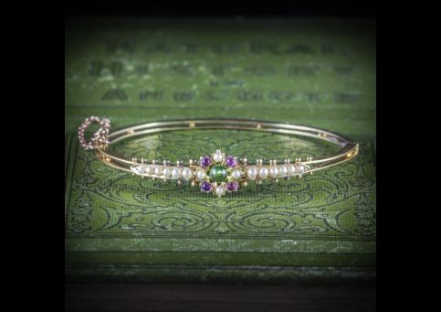 ANTIQUE_VICTORIAN_SUFFRAGETTE_BANGLE_AMETHYST_PERIDOT_PEARL_15CT_GOLD_COVER_600x