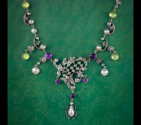 Antique-Art-Nouveau-Suffragette-Garland-Necklace-Diamond-Pearl-Amethyst-Peridot-Silver-Circa-1915-cover