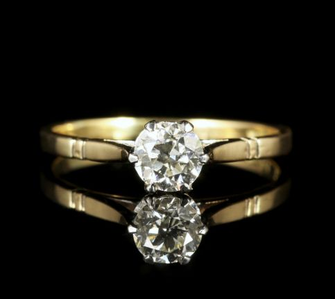 Antique Edwardian  Diamond Solitaire Ring 18ct Gold Circa 1915 Engagement Ring front