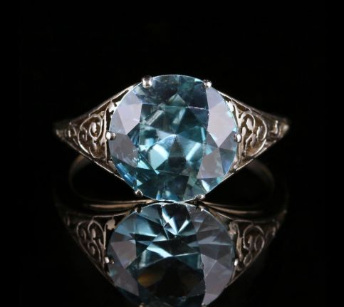 Antique Edwardian Blue Zircon Platinum Ring front view