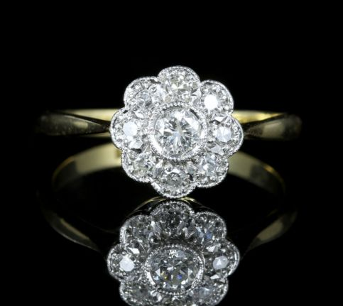 Antique Edwardian Diamond Cluster Ring 18ct Gold Plat front view