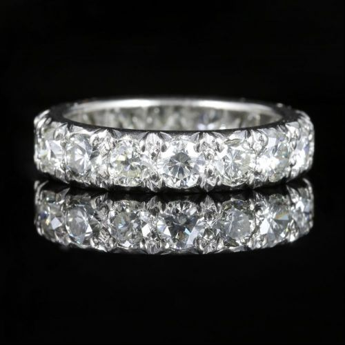 Antique Edwardian Diamond Eternity Ring 3.84ct Platinum front view
