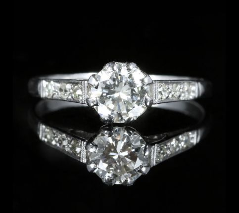 Antique Edwardian Diamond Solitaire Engagement Ring Circa 1910 Platinum front view