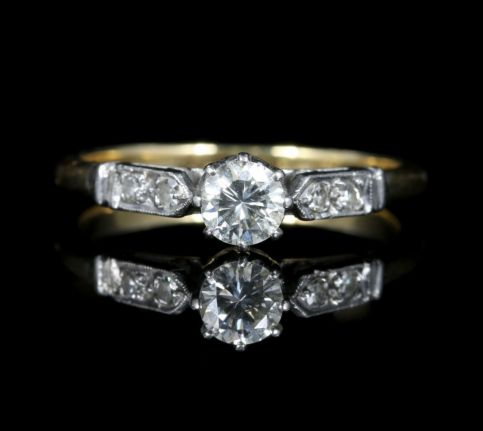 Antique Edwardian Diamond Solitaire Engagement Ring Circa 1915 front view