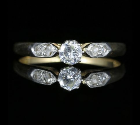 Antique Edwardian Diamond Solitaire Ring Platinum Gold front view