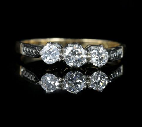 Antique Edwardian Diamond Trilogy Engagement Ring Circa 1915 front view