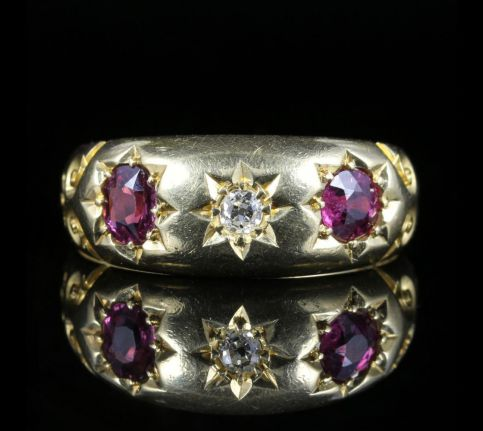 Antique Edwardian Ruby Diamond Ring Dated 1905 front view