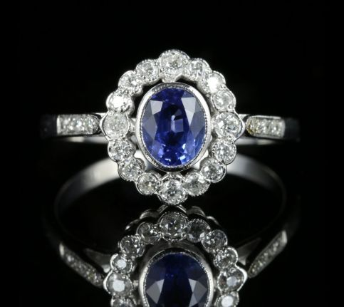 Antique Edwardian Sapphire Diamond Ring 18ct White Gold front view