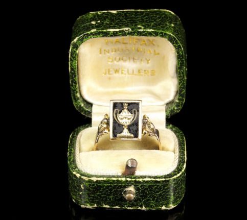 Antique Georgian Mourning Spinning Ring Boxed 18ct Gold boxopen1