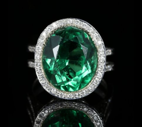 Antique Green Spinel and Diamond Ring 18ct White Gold Circa 1940 front view