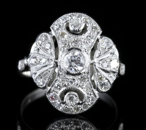 Antique Edwardian Large Diamond Cluster Ring 18ct White Gold