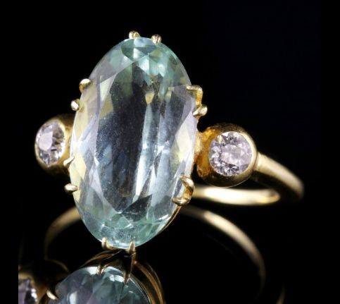 Antique Victorian Aquamarine Diamond Ring 6ct Aquamarine Sea Green SIDE1