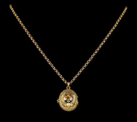 Antique Victorian Fox Hunting Necklace Gold Locket and Chain Circa 1900 front view